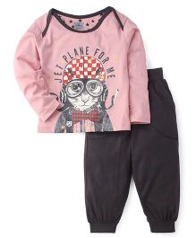 Mini Taurus Full Sleeves T-Shirt And Lounge Pants Animal Print - Pink Dark Grey