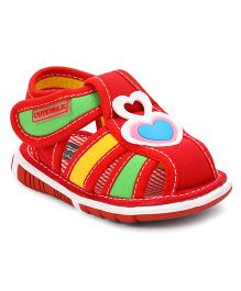 Cute Walk By Babyhug Sandals Heart Patch - Red & Multicolor