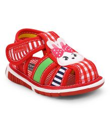 Cute Walk By Babyhug Sandals Checks Design & Rabbit Patch - Red