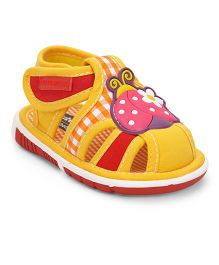 Cute Walk by Babyhug Sandals Ladybird Patch - Yellow