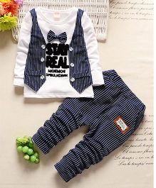 Wonderland Striped Design Bow Tie Tee With Mock Jacket & Pant - Blue & White