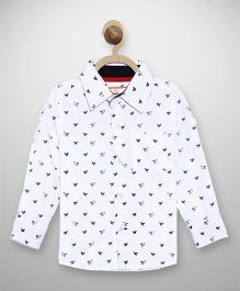 612 League Full Sleeves Printed Shirt - White
