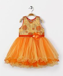 Bluebell Party Wear Frock Floral Embellishment - Orange