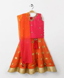 Bluebell Sleeveless Choli Lehenga With Dupatta - Pink Orange