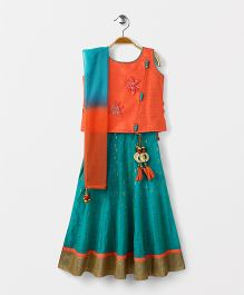 Bluebell Sleeveless Choli Lehenga With Dupatta - Green Orange