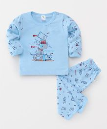 Cucumber Full Sleeves T-Shirt And Lounge Pants Puppy Print - Sky Blue