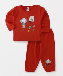 Cucumber Full Sleeves Night Suit Alphabet Print - Red