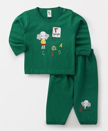Cucumber Full Sleeves Night Suit Alphabet Print - Green