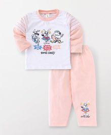 Cucumber Doctor Sleeves T-Shirt And Pajama Puppy Print - White Peach