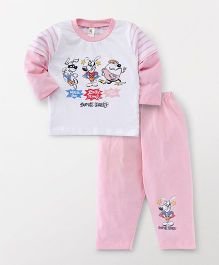 Cucumber Doctor Sleeves T-Shirt And Pajama Puppy Print - White Pink