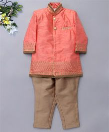 Robo Fry Full Sleeves Kurta And Jodhpuri Breeches Set - Peach Beige