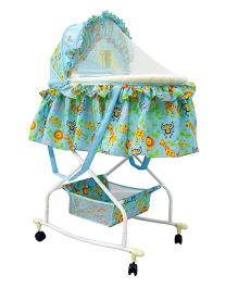 Sunbaby Rockon Bassinet Cum Rocker White Blue - SB 108C