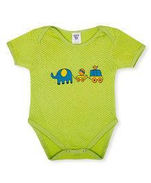 Happy Kids Animal Printed Snap Buttoned Onesie - Green