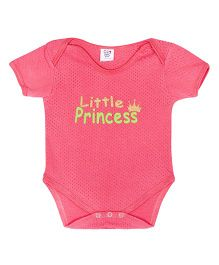 Happy Kids Princess Written Snap Buttoned Onesie - Coral
