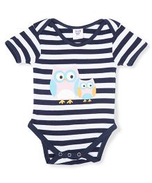 Happy Kids Stripe Owl Printed Onesie - Blue