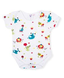 Happy Kids Animal & Cup Cake Printed Onesie - White
