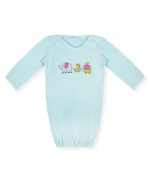 Happy Kids Animal Printed Snap Buttoned Night Gown - Light Blue