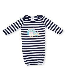 Happy Kids Stripe Owl Printed Full Sleeve Night Gown - Blue