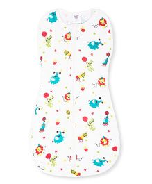 Happy Kids Animal Printed Soft Swaddle - White