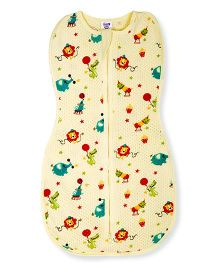 Happy Kids Animal Printed Soft Swaddle - Yellow