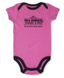 Little Hip Boutique Solid Wanted & Worth The Wait Onesie - Pink