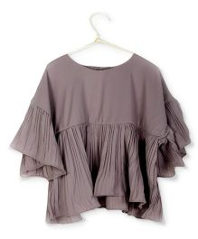 Cubmarks Stylish Pleated Bell Sleeves Ruffled Top- Grey
