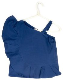 Cubmarks One Shoulder Stylish Ruffled Top- Blue