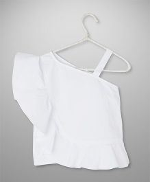 Cubmarks One Shoulder Stylish Ruffled Top- White