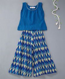 The Little Fashionistas Ikat Print Palazzo With Top - Blue & Off White