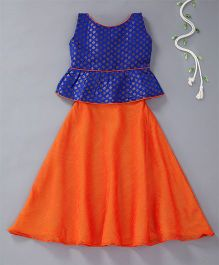 The Little Fashionistas Long Circular Skirt With Brocade Flared Blouse - Orange & Blue
