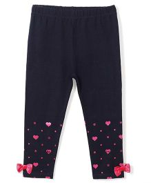 Barbie Full Length Leggings Bow Appliques - Dark Blue