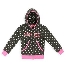 Barbie Full Sleeves Dotted Hooded Sweat Jacket - Black