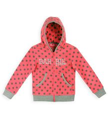 Barbie Full Sleeves Dotted Hooded Sweat Jacket - Pink Grey