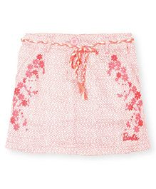 Barbie Printed Skirt With Drawstring Floral Embroidery - White Pink
