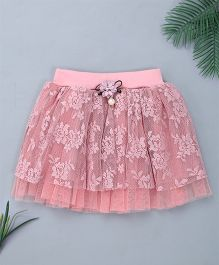 Pinkalicious Frilled Embroidered Net Skirt - Baby Pink