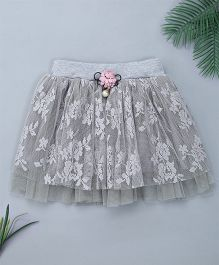 Pinkalicious Frilled Embroidered Net Skirt - Light Grey