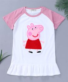 Pinkalicious Raglan Sleeves Piggy Patch Dress - White & Pink
