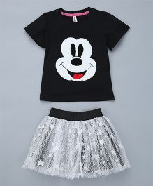 Pinkalicious Mickey Mouse Top And Frilled Skirt - Black & White