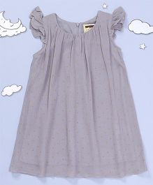 Hugsntugs Dot Printed Top With Bow Design - Grey