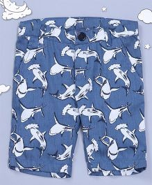 Hugsntugs Shark Print Shorts - Blue
