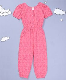 Hugsntugs Floral Print Jumpsuit With Side Pockets - Pink