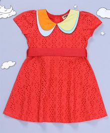 Hugsntugs Eyelet Dress With Double Collars - Red