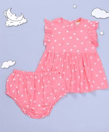 Hugsntugs Floral Print Dress With Bloomer - Pink