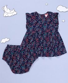 Hugsntugs Floral Print Dress With Bloomer - Blue