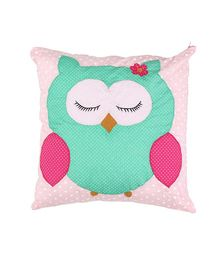 Hugsntugs Owl Patched Cushion With Filler - Multicolor