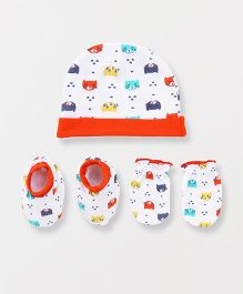 Babyhug Cap Mittens And Booties Set Kitty Print - Red White