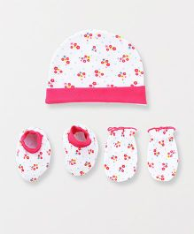 Babyhug Cap Mittens And Booties Set Ditsy Floral Print - Pink White