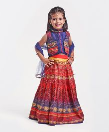 Babyhug Sleeveless Mirror Detailing Choli Lehenga With Dupatta - Orange & Blue