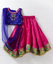 Babyhug Sleeveless Choli And Lehenga With Dupatta Floral Embroidery - Blue Pink