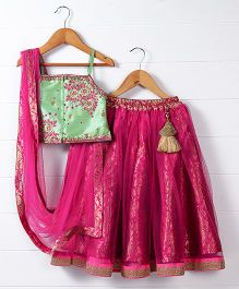Babyhug Singlet Choli And Lehenga With Dupatta Floral Embroidery - Dark Pink Light Green